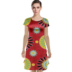 Sunflower Floral Red Yellow Black Circle Cap Sleeve Nightdress