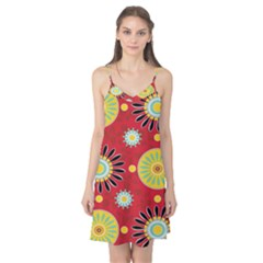 Sunflower Floral Red Yellow Black Circle Camis Nightgown