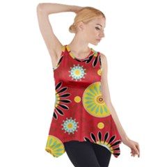 Sunflower Floral Red Yellow Black Circle Side Drop Tank Tunic