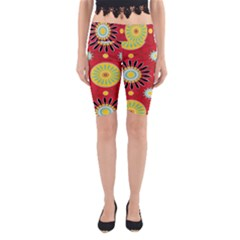Sunflower Floral Red Yellow Black Circle Yoga Cropped Leggings