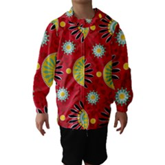 Sunflower Floral Red Yellow Black Circle Hooded Wind Breaker (kids) by Alisyart