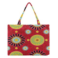 Sunflower Floral Red Yellow Black Circle Medium Tote Bag by Alisyart