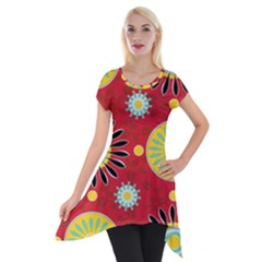 Sunflower Floral Red Yellow Black Circle Short Sleeve Side Drop Tunic