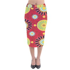 Sunflower Floral Red Yellow Black Circle Velvet Midi Pencil Skirt by Alisyart