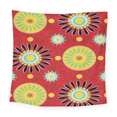 Sunflower Floral Red Yellow Black Circle Square Tapestry (large)