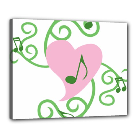 Sweetie Belle s Love Heart Music Note Leaf Green Pink Canvas 20  X 16  by Alisyart