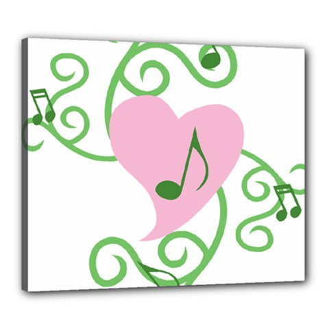 Sweetie Belle s Love Heart Music Note Leaf Green Pink Canvas 24  X 20  by Alisyart