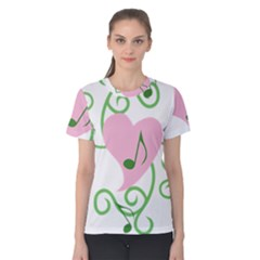 Sweetie Belle s Love Heart Music Note Leaf Green Pink Women s Cotton Tee