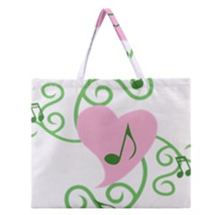 Sweetie Belle s Love Heart Music Note Leaf Green Pink Zipper Large Tote Bag by Alisyart