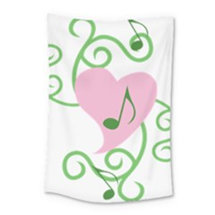 Sweetie Belle s Love Heart Music Note Leaf Green Pink Small Tapestry by Alisyart