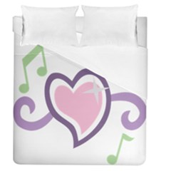 Sweetie Belle s Love Heart Star Music Note Green Pink Purple Duvet Cover (queen Size) by Alisyart