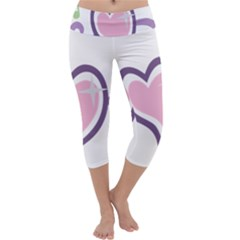 Sweetie Belle s Love Heart Star Music Note Green Pink Purple Capri Yoga Leggings by Alisyart