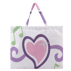 Sweetie Belle s Love Heart Star Music Note Green Pink Purple Zipper Large Tote Bag