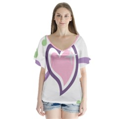 Sweetie Belle s Love Heart Star Music Note Green Pink Purple Flutter Sleeve Top