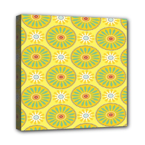 Sunflower Floral Yellow Blue Circle Mini Canvas 8  X 8