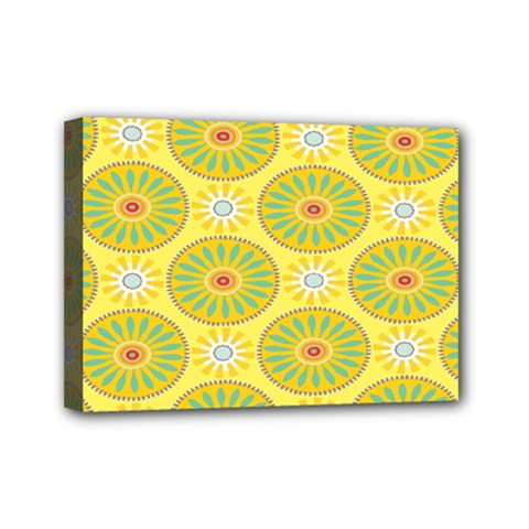 Sunflower Floral Yellow Blue Circle Mini Canvas 7  X 5  by Alisyart