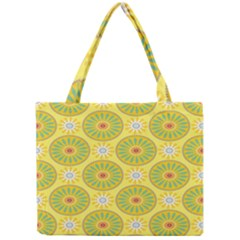 Sunflower Floral Yellow Blue Circle Mini Tote Bag