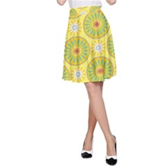 Sunflower Floral Yellow Blue Circle A Line Skirt by Alisyart