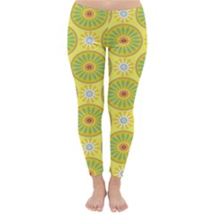Sunflower Floral Yellow Blue Circle Classic Winter Leggings