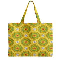 Sunflower Floral Yellow Blue Circle Zipper Mini Tote Bag
