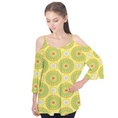 Sunflower Floral Yellow Blue Circle Flutter Tees