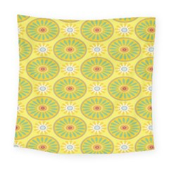 Sunflower Floral Yellow Blue Circle Square Tapestry (large) by Alisyart