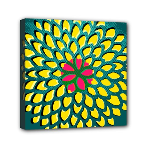 Sunflower Flower Floral Pink Yellow Green Mini Canvas 6  X 6  by Alisyart