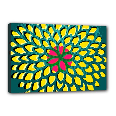 Sunflower Flower Floral Pink Yellow Green Canvas 18  X 12  by Alisyart
