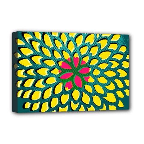 Sunflower Flower Floral Pink Yellow Green Deluxe Canvas 18  X 12   by Alisyart