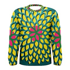Sunflower Flower Floral Pink Yellow Green Men s Long Sleeve Tee