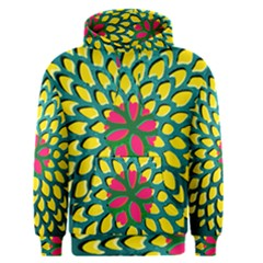 Sunflower Flower Floral Pink Yellow Green Men s Pullover Hoodie by Alisyart