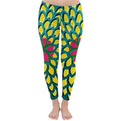 Sunflower Flower Floral Pink Yellow Green Classic Winter Leggings