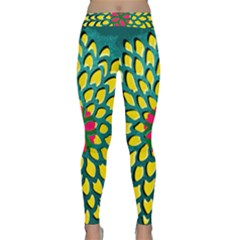 Sunflower Flower Floral Pink Yellow Green Classic Yoga Leggings by Alisyart