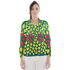 Sunflower Flower Floral Pink Yellow Green Wind Breaker (women) by Alisyart