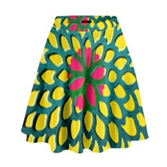 Sunflower Flower Floral Pink Yellow Green High Waist Skirt