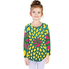 Sunflower Flower Floral Pink Yellow Green Kids  Long Sleeve Tee