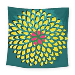 Sunflower Flower Floral Pink Yellow Green Square Tapestry (large)