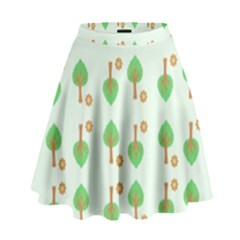 Tree Circle Green Yellow Grey High Waist Skirt