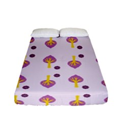Tree Circle Purple Yellow Fitted Sheet (full/ Double Size)