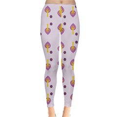 Tree Circle Purple Yellow Classic Winter Leggings