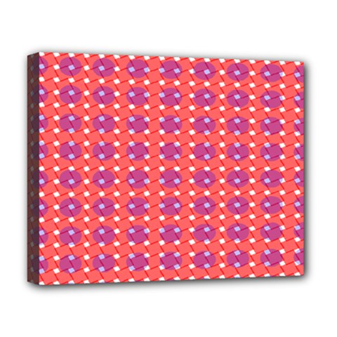 Roll Circle Plaid Triangle Red Pink White Wave Chevron Deluxe Canvas 20  X 16