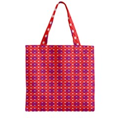 Roll Circle Plaid Triangle Red Pink White Wave Chevron Zipper Grocery Tote Bag by Alisyart