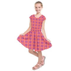 Roll Circle Plaid Triangle Red Pink White Wave Chevron Kids  Short Sleeve Dress by Alisyart