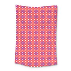 Roll Circle Plaid Triangle Red Pink White Wave Chevron Small Tapestry