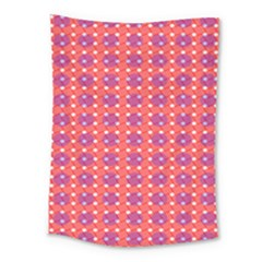 Roll Circle Plaid Triangle Red Pink White Wave Chevron Medium Tapestry