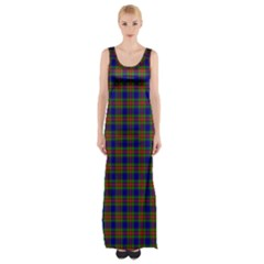 Tartan Fabrik Plaid Color Rainbow Maxi Thigh Split Dress
