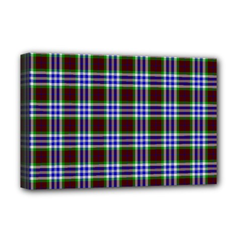Tartan Fabrik Plaid Color Rainbow Triangle Deluxe Canvas 18  X 12   by Alisyart