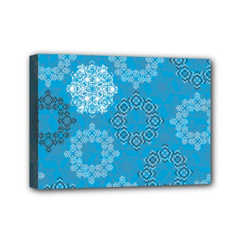 Flower Star Blue Sky Plaid White Froz Snow Mini Canvas 7  X 5  by Alisyart
