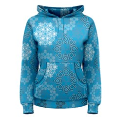 Flower Star Blue Sky Plaid White Froz Snow Women s Pullover Hoodie
