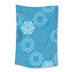 Flower Star Blue Sky Plaid White Froz Snow Small Tapestry by Alisyart